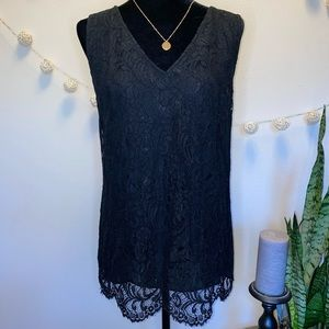 White House Black Market Black Lace Blouse Large